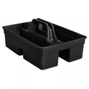 """Executive Carry Caddy, 2-Compartment, Plastic, 10 3/4""""W x 6 1/2""""H, Black"""