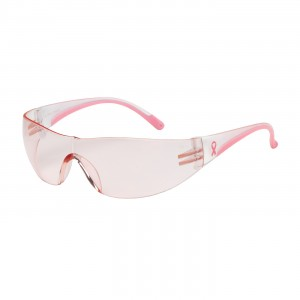 Safety Glasses Rimless Clear Wrap Lens&Temple Pink Tint 12/BX 12/CS