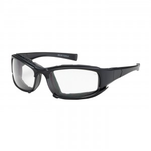 Safety Glasses Clear Cefiro, Bl Mir Lens, Blk Full Frm w/ Foam Padding, AF,