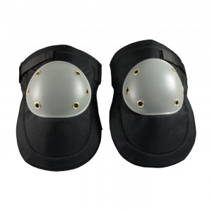 Knee Pads Hard Plastic Cap, Gray On Black Hook & Loop Close