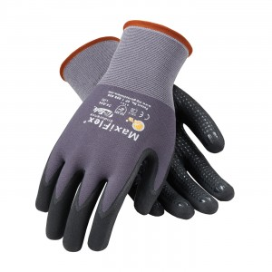 Glove Micro Foam Black Nitrile Coated Dotted Palm & Finger Large 12DZPR/CS