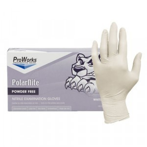 "Glove Nitrile Examination 9.5"" Powder Free 4Mil White Large 100/BX 10/CS"