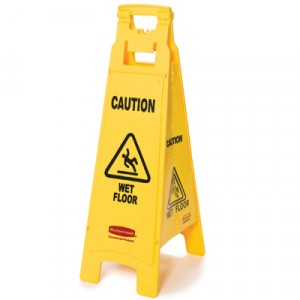 Caution Wet Floor Floor Sign, 4-Sided, Plastic, 12x16x38, Yellow