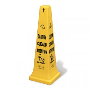 """Multilingual Safety Cone, """"CAUTION"""", 12 1/4w x 12 1/4d x 36h, Yellow"""