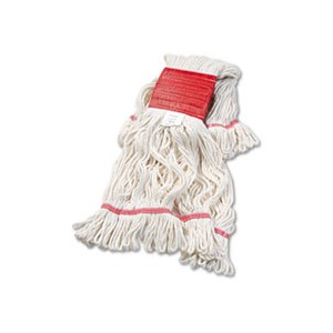 """Mop Head Cotton/Synthetic Large 5"""" Red Band White"""