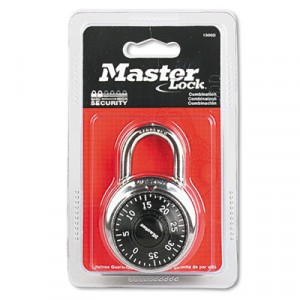 """Combination Lock, Stainless Steel, 1-7/8"""" Wide, Black Dial"""