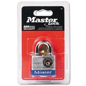 """Four-Pin Tumbler Lock, Steel Body, 1-1/2"""" Wide, Silver/Blue, Two Keys"""