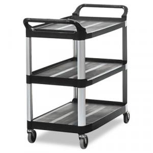 Open Sided Utility Cart, 3-Shelf, 40-5/8w x 20d x 37-13/16h, Black