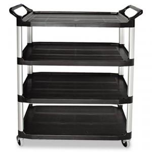 Open Sided Utility Cart, 4-Shelf, 40-5/8w x 20d x 51h, Black