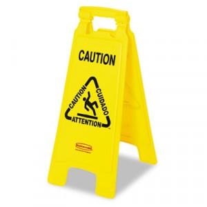 "Sign Floor ""Caution Wet Floor"" 2-Sided Multilingual"
