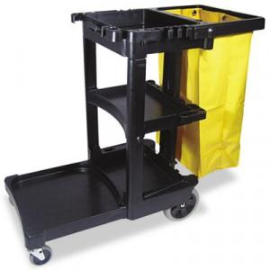Multi-Shelf Cleaning Cart, 3-Shelf, 20w x 45d x 38-1/4h, Black