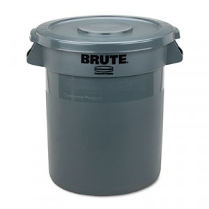 """Round Brute Lid For 10 gal Waste Containers, 16"""" Diameter, Gray"""