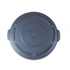 """Round Brute Lid For 20 gal Waste Containers, 19 7/8"""" Diameter, Gray"""