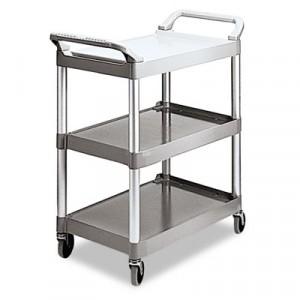 Economy Plastic Cart, 3-Shelf, 18-5/8w x 33-5/8d x 37-3/4h, Platinum
