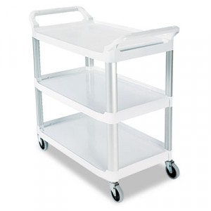 Open Sided Utility Cart, 3-Shelf, 40-5/8w x 20d x 37-13/16h, Off-White