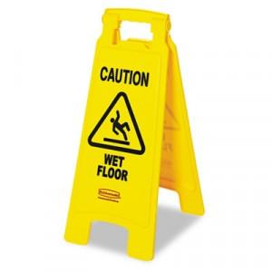 """""""Caution Wet Floor"""" Floor Sign, Plastic, 11x1-1/2x26, Bright Yellow"""