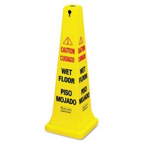 Safety Cones Wet Floor MultiLang 12.25x12.25x36 Yellow 6276