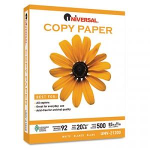 Copy Paper, 92 Brightness, 20lb, 8-1/2x11, White, 5000 Sheets/Carton