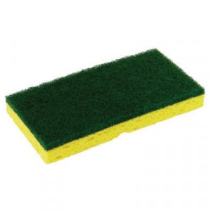 Medium-Duty Scrubber Sponge, 3 1/8x6 1/4 in, Yellow/Green