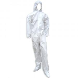 Coverall Microporous White w/Hood&Boot ElasticWrist LRG 25/CS