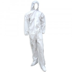 Coveralls, Microporous, with Hood & Boot, Zipper Front, White, Case of 25