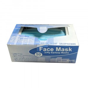 Face Masks, 3-Ply, Earloops, Blue/White 50/Box