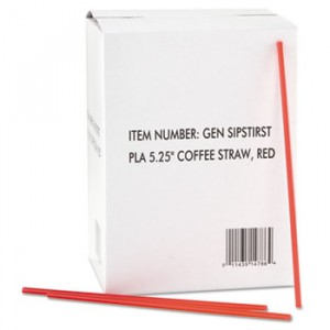 Coffee Stirrers, Red/White, Plastic, 5 1/4""