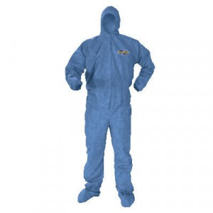 KLEENGUARD A60 Elastic-Cuff and Back Hood and Boot Coveralls, Denim, 3X-Large