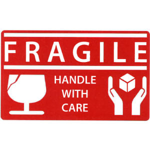 """Label 2.5x1.5 3""""Core Red/White """"Fragile Handle With Care"""" AMAT 500/RL"""