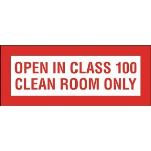 "Label Cleanroom 2.5x1 ""Open Only In Class 100 CR Only"" 1000/RL"