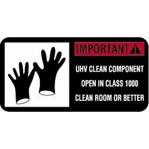 """Label CR 2x1 GLOVES """"Important! UHV Clean Component"""" Perf 1000/RL"""