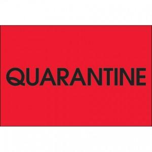 "Label 2x3 ""Quarantine"" Black on Red 500/RL"
