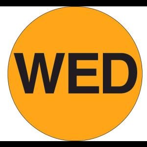 "Label 2"" ""Wednesday"" Flourescent Orange 500/RL"