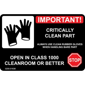 """Label CR 3x2 """"Important! Critically Clean Part"""" AMAT Perf 250/RL"""