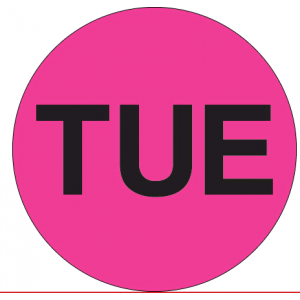 "Label 2"" ""Tuesday"" Flourescent Pink 500/RL"