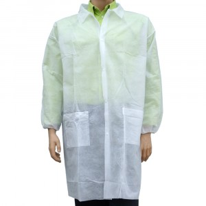 Lab Coat Front Snap Elast Wrist 2Pocket MD WHT SPP 50/CS