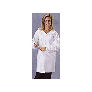 Lab Coat Tyvek Front Snaps No Pockets Elastic Wrist LRG 30/CS