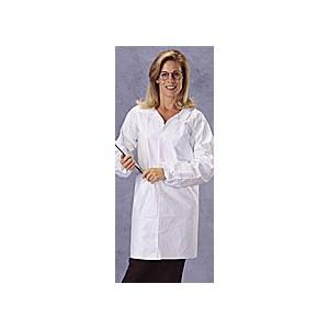 Lab Coat Tyvek Front Snaps No Pockets Elastic Wrist XL 30/CS