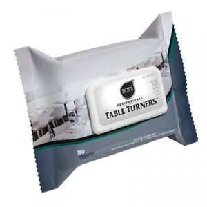 Table Turner Wet Wipes, 7x11 1/2, White