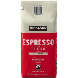 Coffee Kirkland Signature Espresso Blend Whole Bean Dark Roast 2.5LB/PKG