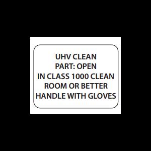 "Label Cleanroom 1x0.75 ""UHV Clean Part"" Black on White 1000/RL"