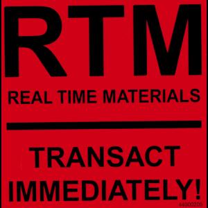 """Label """"Real Time Materials"""" 4x4 Black on Orange Flood 250/RL"""