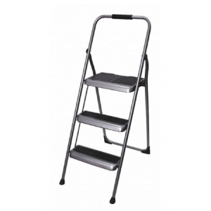 Step Stool 3 Steps Folding Steel 225 lb. Capacity Silver/Black