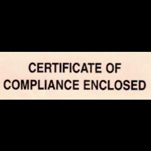 "Label 1x3 ""Certificate of Compliance Enclosed' Fluorescent Orange 1000/RL"