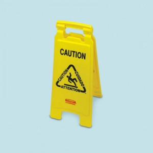"""Multilingual """"Closed"""" Sign, 2-Sided, Plastic, 11w x 1.5d x 26h, Yellow"""