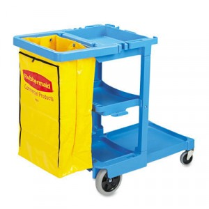 Janitor Cart 2000 W/ Vinyl Zip Bag 46x21.8x38.4 BLUE 6173-88