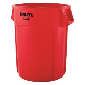 Trash Can 55 Gallon Round Open Red